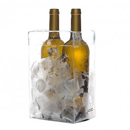 Transparent PVC foldable ice bucket for 2 bottles
