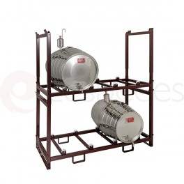 Stackable modular support for 2 barrels of 225 Liters